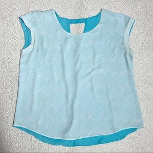 Maurices Blue Reversible Short Sleeves Blouse